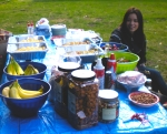 Karol and food table